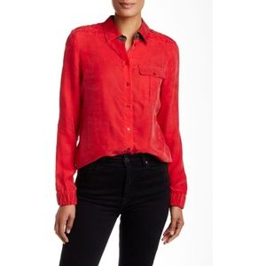 L.A.M.B. Buttoned Quilted Detail Shirt in Red